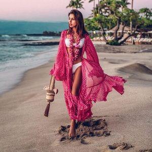 Romantic Pink Chiffon Kimono Duster Beach Coverup